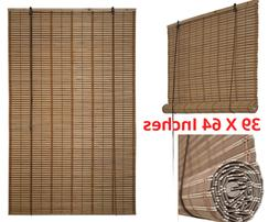 Bamboo Roman Wooden Roll Up Indoor Window Blinds Brown light