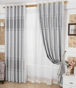 Blackout Sheer Curtains Tulle Window Treatment Blinds Panels