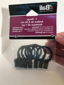 """Brand New - Bali Blinds 1"""" Black Curtain Clip Rings"""