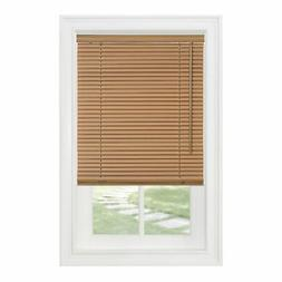 "Cordless Window Minds Mini Blinds 1"" Slats Woodtone Vinyl Bl"