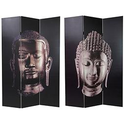 Oriental Double Sided Buddha Canvas Room Divider
