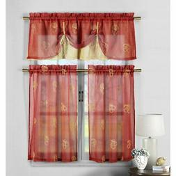 Duck River Dolores Fruit Embroidered 3 Piece Kitchen Curtain