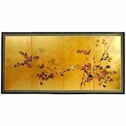 Oriental Furniture Gold Leaf Cherry Blossom Silk Screen