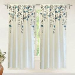 DriftAway Isabella Faux Silk Embroidered Window Curtain Embr
