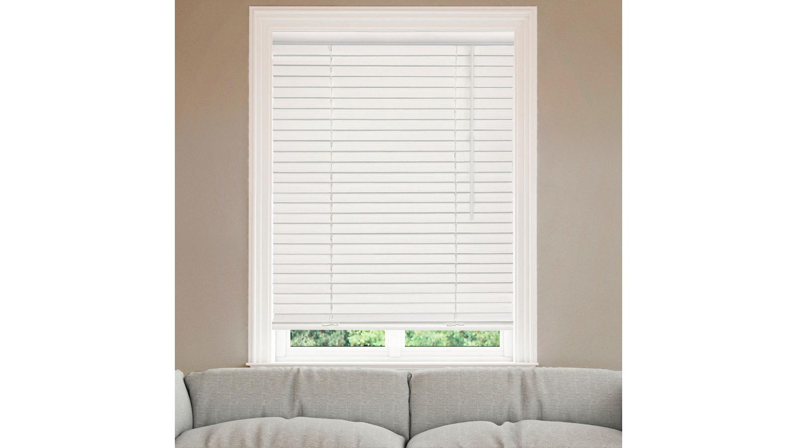 2 cordless faux wood blinds white