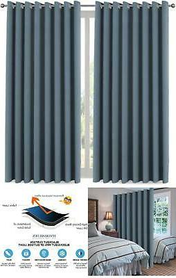 blue window blackout thermal insulated curtain panel