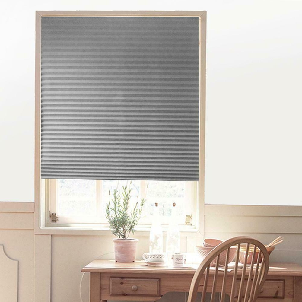 Self-Adhesive Pleated Blinds Home Kitchen Half Blackout Wind