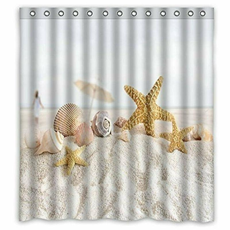 Vandarllin Unique Starfish Seashell Beach Theme Shower Curta