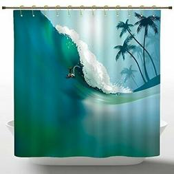 Mildewproof Shower Curtain by iPrint,Sports,Surfing man