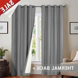 jinchan Room Darkening Thermal Backed Curtains for Living Ro