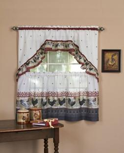 Rooster Valance and Tier Set, 24 H x 57 W x 2 D
