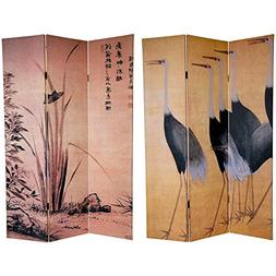 Oriental Furniture 6' Tall Cranes Room Divider in Multicolor