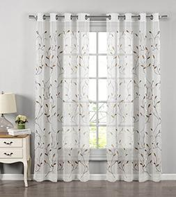 Window Elements Wavy Leaves Embroidered Sheer 54 x 84 in. Gr