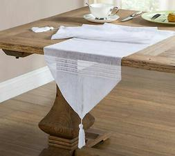 Home Maison White Sheer Table Runner with Stripe Design and